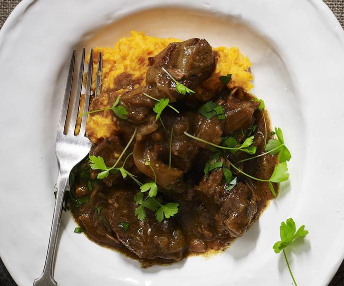 beef and horseradish stew with kumara potato mash