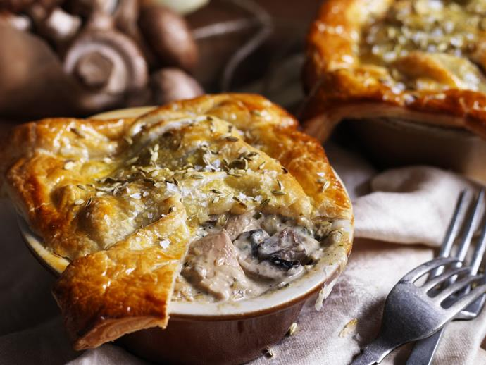 "**[Creamy chicken, mushroom & fennel pie](https://www.womensweeklyfood.com.au/recipes/creamy-chicken-mushroom-and-fennel-pie-14129|target=""_blank"")**  These are serious little pies; tender chunks of chicken, earthy mushrooms and fennel swimming in a creamy mustard sauce and topped with golden, flaky pastry."