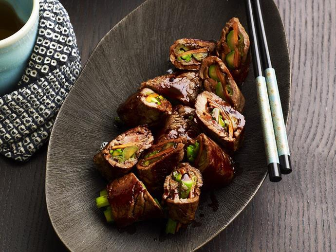 "Sweet and sticky [Asian-style rolls with beef and asparagus](https://www.womensweeklyfood.com.au/recipes/beef-and-vegetable-rolls-14134|target=""_blank"")"