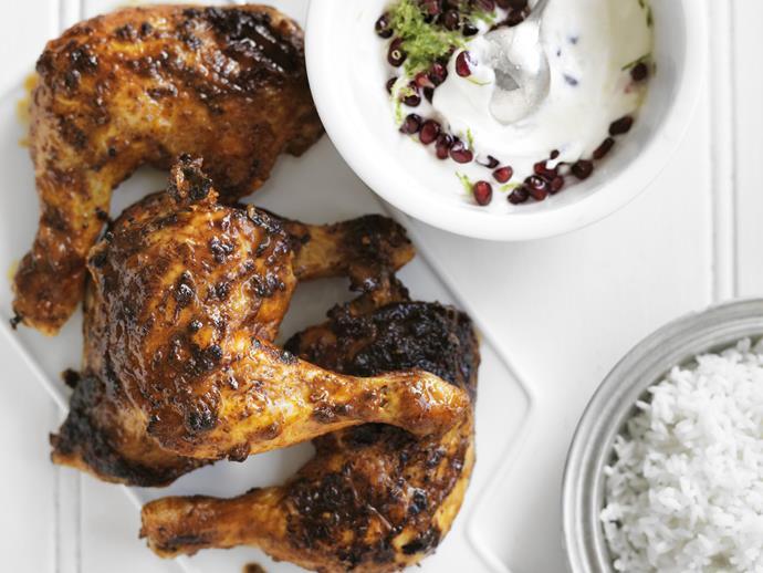 "**[Tandoori chicken with pomegranate raita](https://www.womensweeklyfood.com.au/recipes/tandoori-chicken-with-pomegranate-raita-14149|target=""_blank"")**"