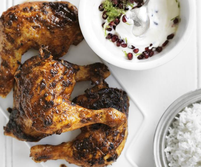 TANDOORI CHICKEN WITH POMEGRANATE RAITA