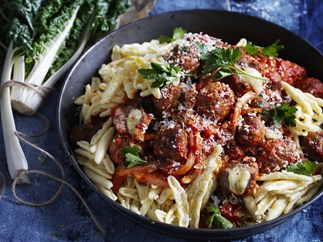 beef & mozzarella meatballs with fennel & silver beet
