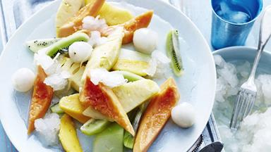 Tropical fruit salad with lemon grass & ginger granita
