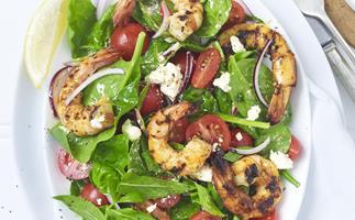 greek barbecued prawn salad