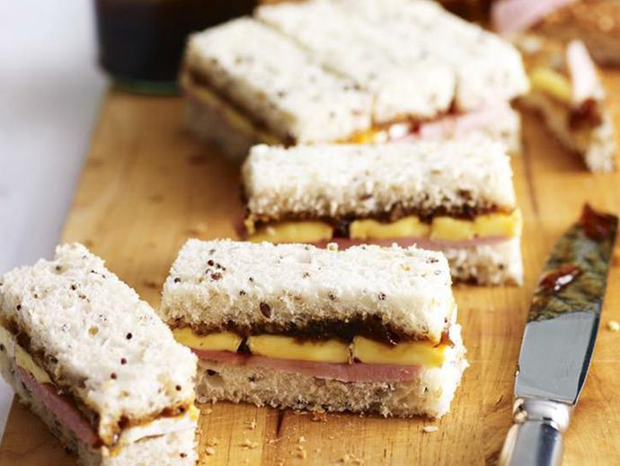 "**[Ham and brie finger sandwiches](https://www.womensweeklyfood.com.au/recipes/ham-and-brie-finger-sandwiches-14223|target=""_blank"")**  With the addition of caramelised onion relish, these ham and cheese finger sandwiches make the tastiest afternoon snack. You can experiment with all sorts of fillings like smoked salmon with cream cheese, egg and mayo, or chicken and watercress."