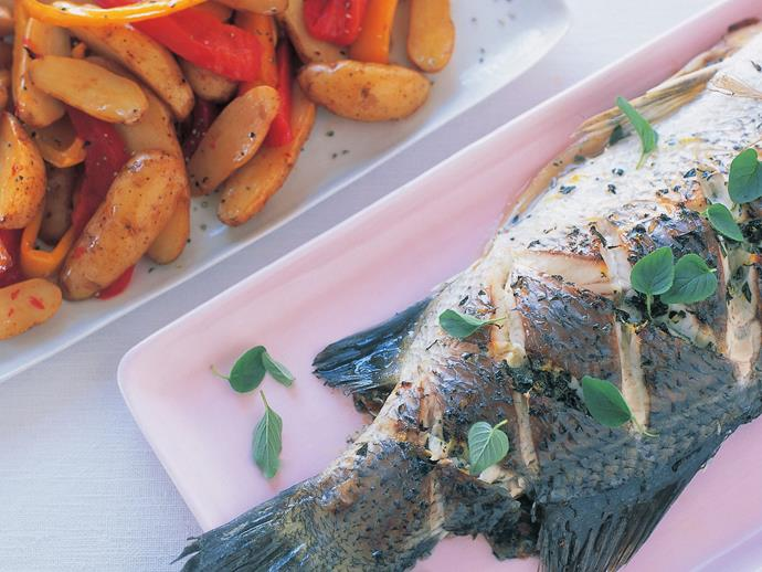 """The perfect summer dish; [barramundi with kipflers and roasted capsicum](https://www.womensweeklyfood.com.au/recipes/barramundi-with-kipflers-and-roasted-capsicum-14260
