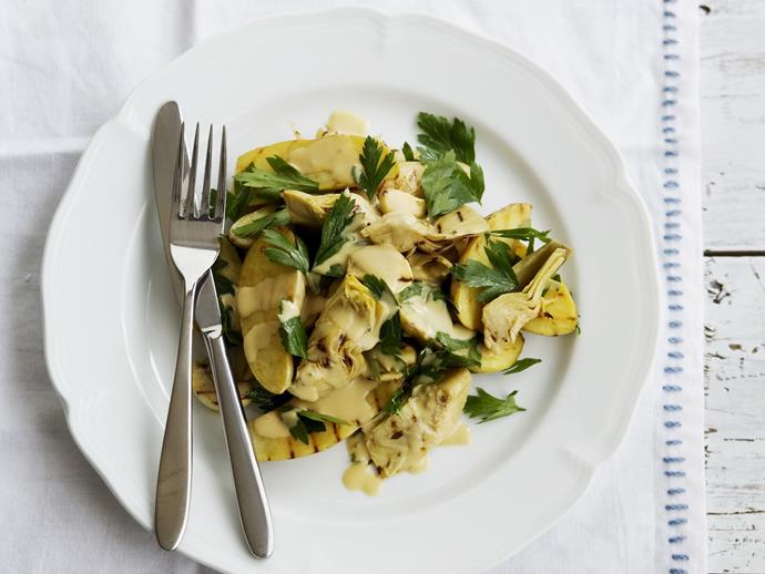"""**[Barbecued potato salad with artichoke hearts in creamy mustard dressing](https://www.womensweeklyfood.com.au/recipes/barbecued-potato-salad-with-artichoke-hearts-in-creamy-mustard-dressing-14277