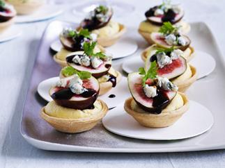polenta, blue cheese     and fig tarts