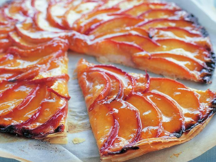 "[Peach galette](http://www.womensweeklyfood.com.au/recipes/peach-galette-14315|target=""_blank"")"