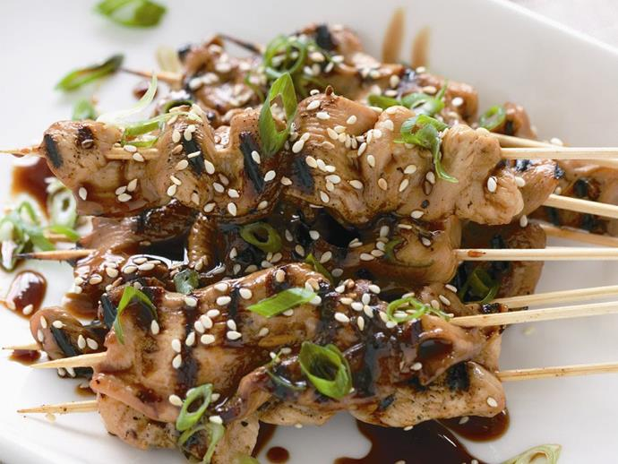 "**[Chicken yakitori](https://www.womensweeklyfood.com.au/recipes/chicken-yakitori-14323|target=""_blank"")**"