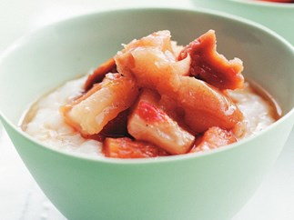 rice porridge with dried fruit compote