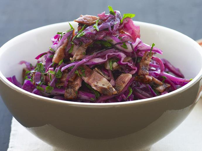 "Colourful and delicious [warm cabbage and bacon salad](https://www.womensweeklyfood.com.au/recipes/warm-red-cabbage-and-bacon-salad-13743|target=""_blank"")."