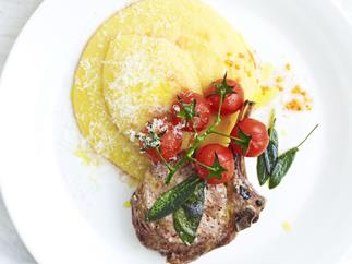 veal cutlets with polenta and sage tomatoes