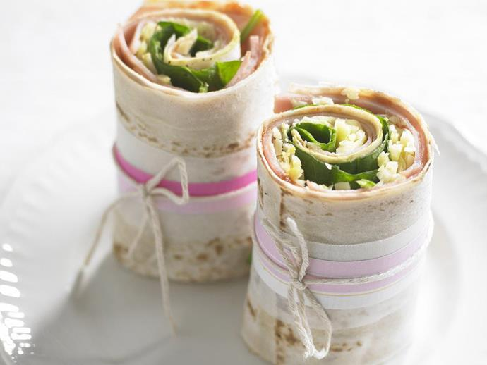 "**[Ham, cheese and tomato chutney wraps](https://www.womensweeklyfood.com.au/recipes/ham-cheese-and-tomato-chutney-wraps-13766|target=""_blank"")**"