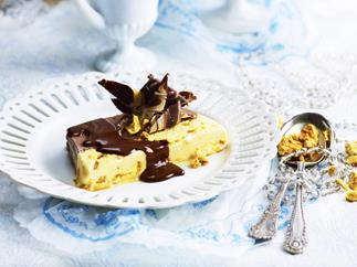 chocolate gelato terrine with honeycomb and chocolate fudge sauce