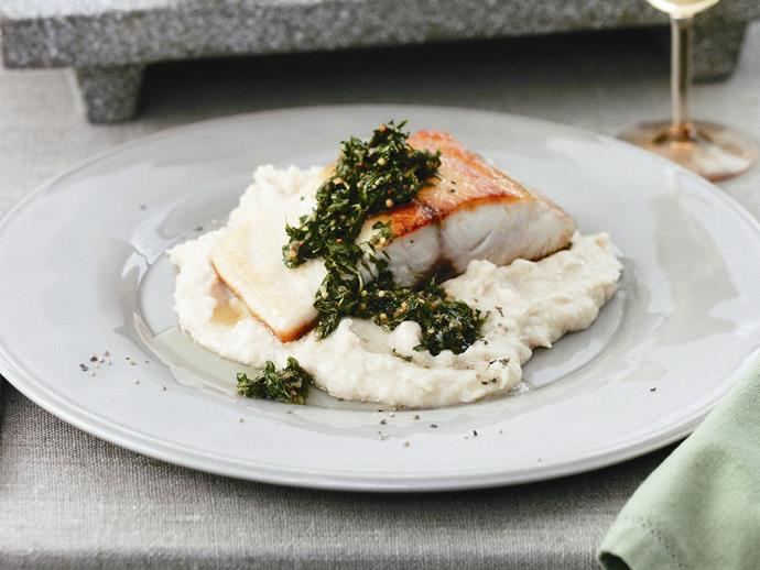 """**[Fish with green sauce and white bean purée](https://www.womensweeklyfood.com.au/recipes/fish-with-green-sauce-and-white-bean-puree-13803