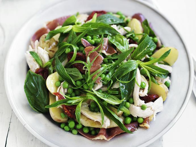 "**[Chicken and potato salad](https://www.womensweeklyfood.com.au/recipes/chicken-and-potato-salad-13804|target=""_blank"")**"