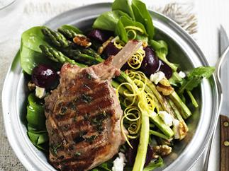 lemon and thyme veal cutlets with beetroot salad