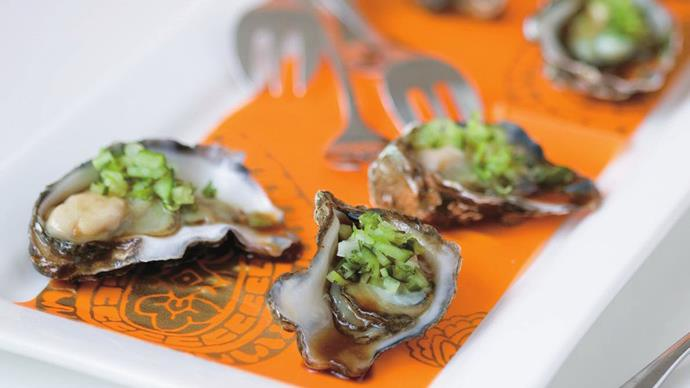 oysters with mirin and wasabi