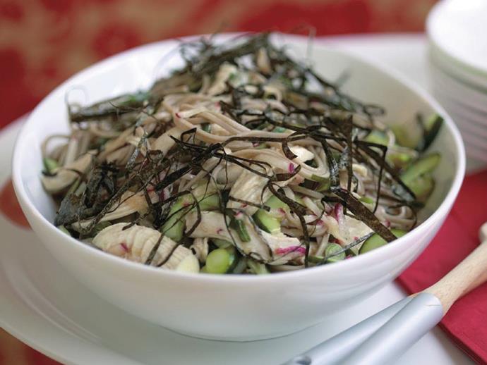 "**[Chicken soba salad](https://www.womensweeklyfood.com.au/recipes/chicken-soba-salad-13878|target=""_blank"")**"