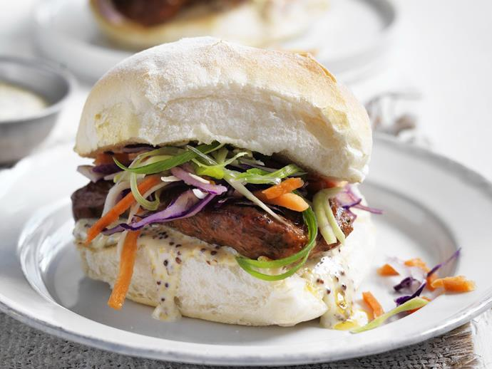 "**[Sausage and crunchy slaw burgers](https://www.womensweeklyfood.com.au/recipes/sausage-and-crunchy-slaw-burgers-5841|target=""_blank"")**  Delicious little burgers with grilled beef sausages and a crunchy slaw."