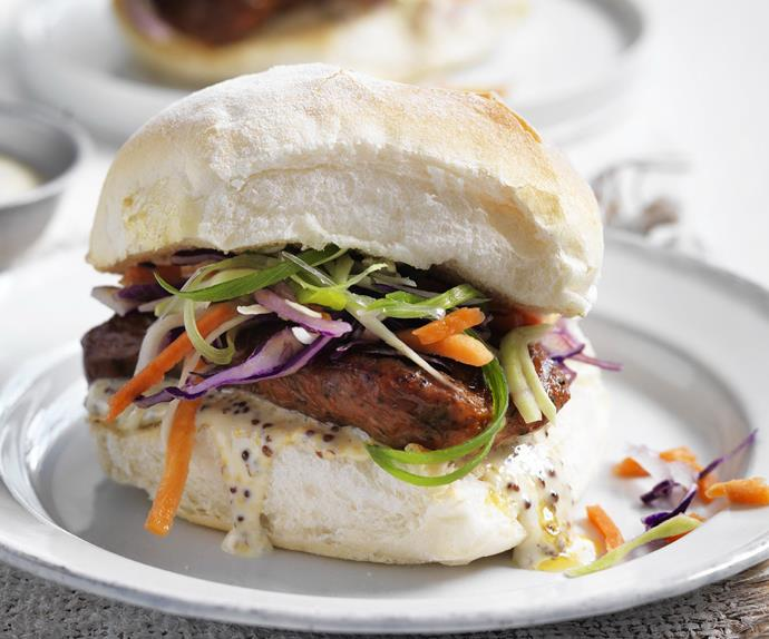 sausage and crunchy slaw burgers