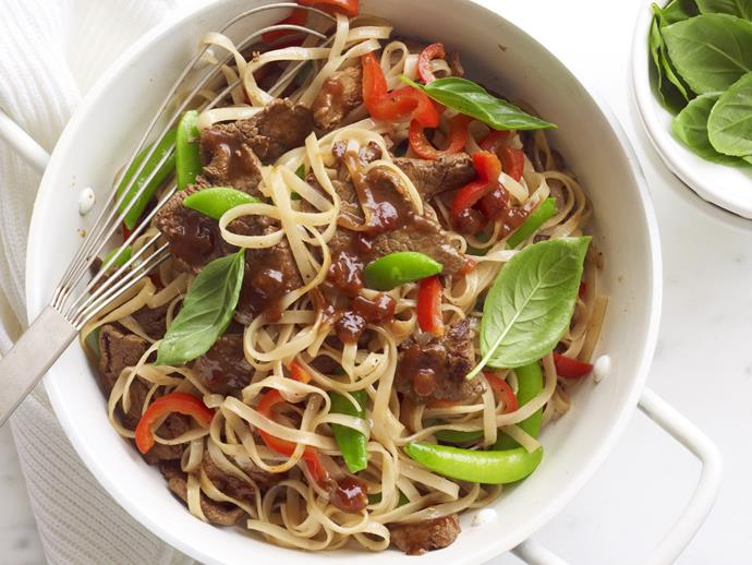 """**[Chilli jam beef noodles](https://www.womensweeklyfood.com.au/recipes/chilli-jam-beef-noodles-13919