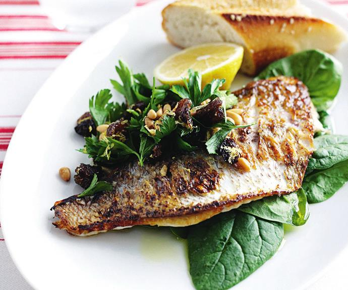 pan-fried fish with spinach and lemon raisin salad