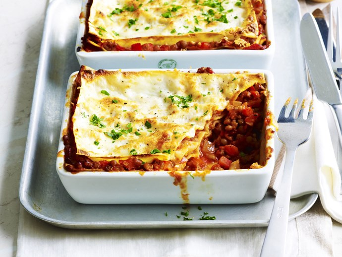 beef and lentil lasagne