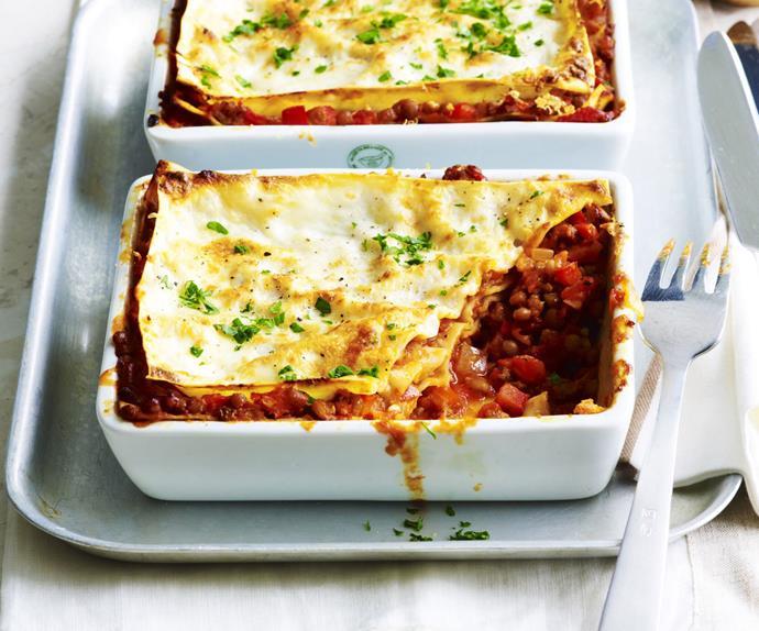 beef and lentil lasagne