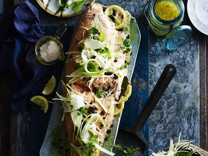"**Roast salmon with fennel and apple salad** <br><br> This Mediterranean-inspired dish will bring some freshness to your Christmas table with fresh fennel and apple.  <br><br> [**Read the full recipe here**](https://www.womensweeklyfood.com.au/recipes/roast-salmon-with-fennel-and-apple-salad-5689|target=""_blank"")"