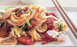 chinese barbecued pork and rice noodle stir-fry