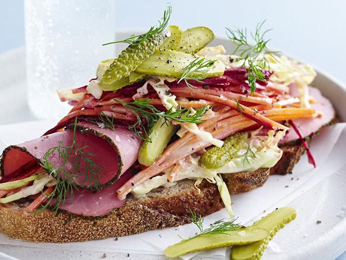 "[Open reuben sandwich](http://www.womensweeklyfood.com.au/recipes/open-reuben-sandwich-13966|target=""_blank"") The trick with this one, if you're taking it to work, is to package the coleslaw in a separate container and assemble the sandwich just before eating. Then it will look just as good as this one."