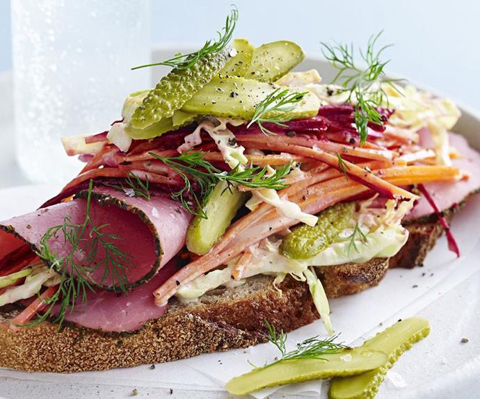 open reuben sandwich