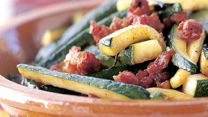 Zucchini with chorizo