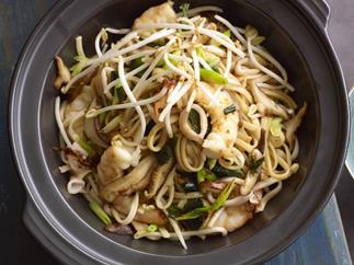 Seafood and udon noodle stir-fry