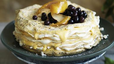 Lemon curd and poppy seed crêpe cake