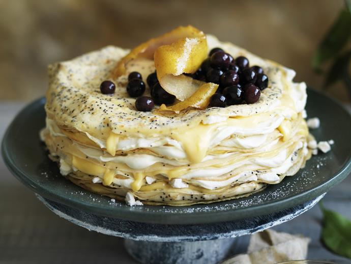 """**[Lemon curd and poppy seed crêpe cake](https://www.womensweeklyfood.com.au/recipes/lemon-curd-and-poppy-seed-crepe-cake-15409