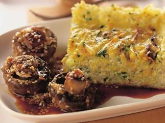 leek and rice flan with sesame mushrooms