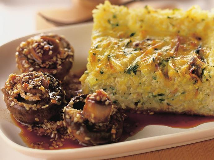 "**[Leek and rice flan with sesame mushrooms](https://www.womensweeklyfood.com.au/recipes/leek-and-rice-flan-with-sesame-mushrooms-13997|target=""_blank"")**"
