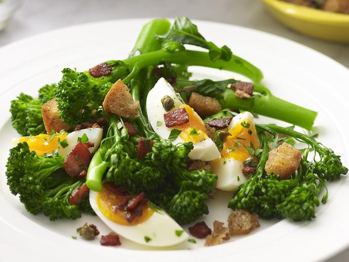 """**[Broccolini with bacon and eggs](https://www.womensweeklyfood.com.au/recipes/broccolini-with-bacon-and-eggs-14003