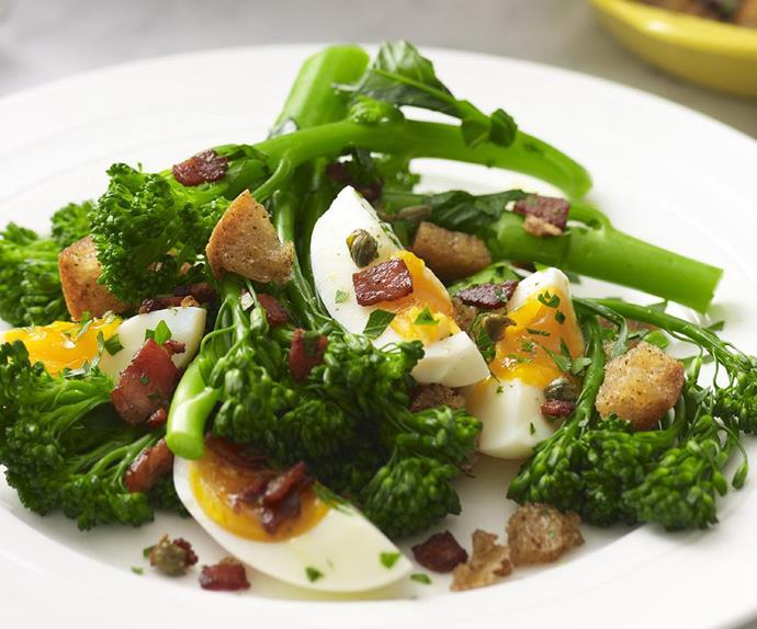 broccolini with bacon and eggs
