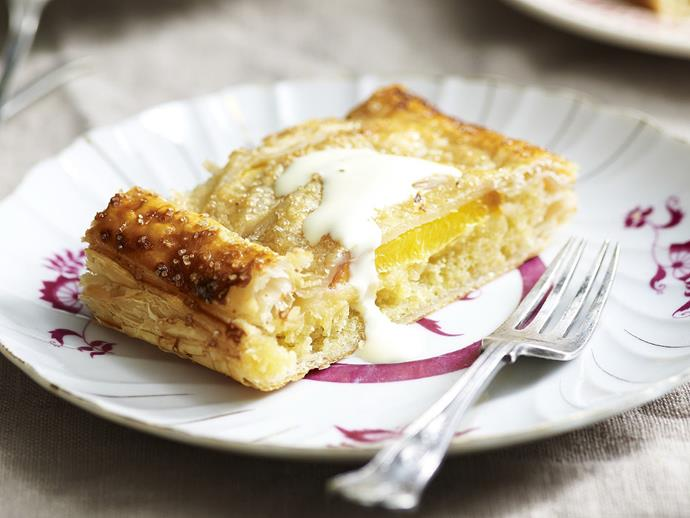"[Peach jalousie](http://www.womensweeklyfood.com.au/recipes/peach-jalousie-5707|target=""_blank"")"