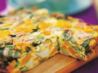 Pumpkin, spinach and fetta frittata