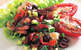 OCTOPUS SALAD WITH GRILLED TOMATOES