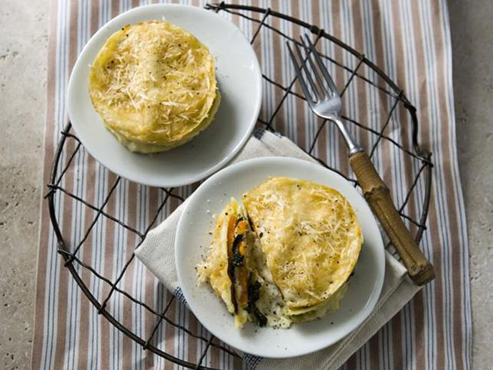 "**[Pumpkin and goat's cheese lasagne stacks](http://www.womensweeklyfood.com.au/recipes/pumpkin-and-goats-cheese-lasagne-stacks-5715|target=""_blank""):** Hearty pumpkin does the work of mince here, while oozy goat's cheese and a sprinkling of Parmesan ensures you don't feel like you're missing out."