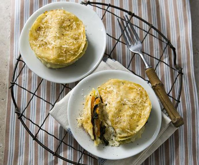PUMPKIN AND GOAT'S CHEESE LASAGNE STACKS