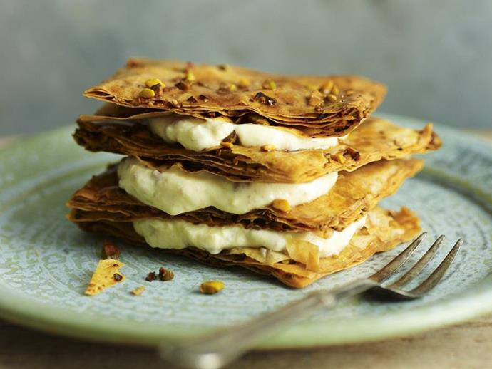 "[Pastilla with sweet yoghurt cream recipe.](https://www.womensweeklyfood.com.au/recipes/pastilla-with-sweet-yogurt-cream-5721|target=""_blank"")"