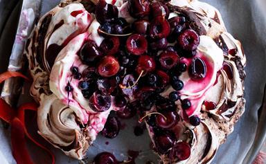 Chocolate cherry berry pavlova