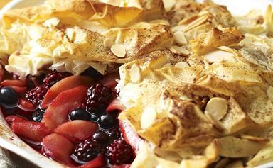 Apple and berry filo pie